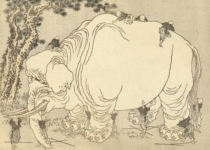 Hokusai: Ciegos examinando un elefante (1817).